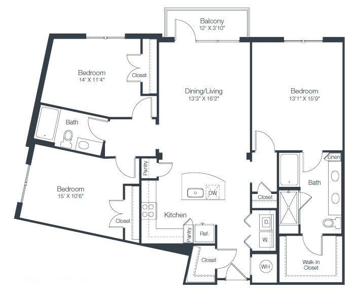 A 2D drawing of the C2A floor plan