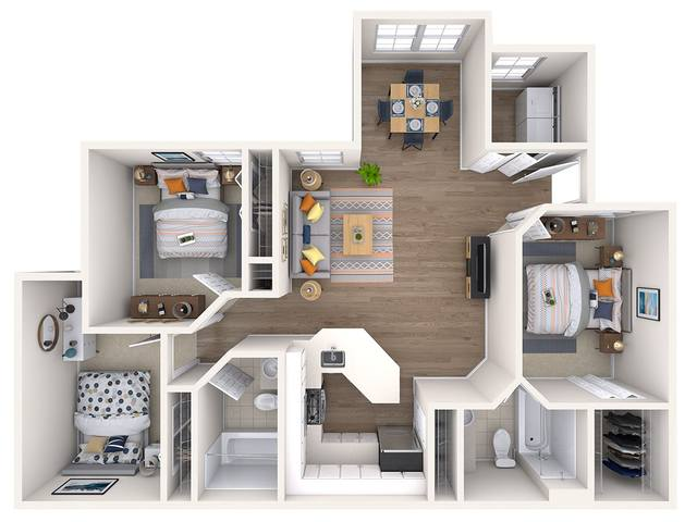 A 3D rendering of the Magnolia Renovated floor plan