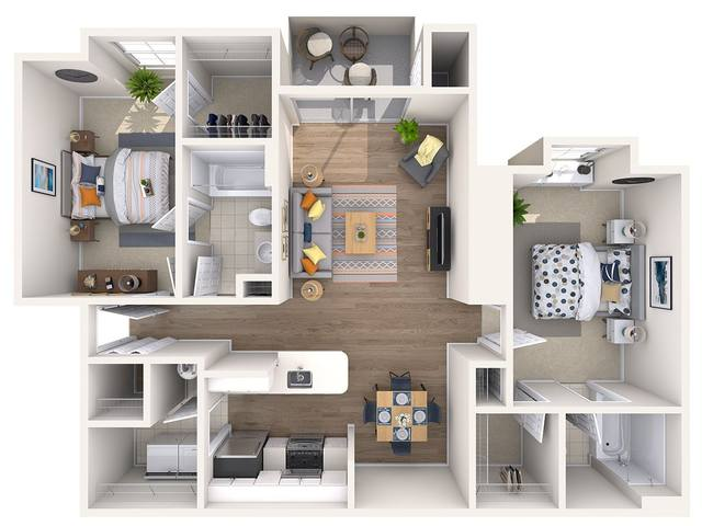 A 3D rendering of the Lily Renovated floor plan