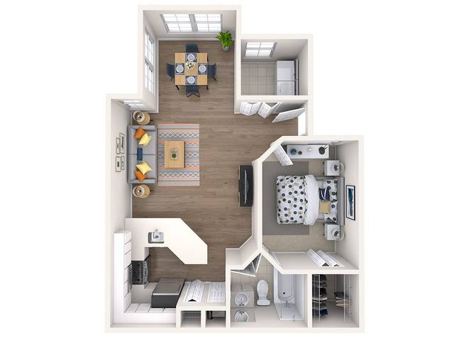 A 3D rendering of the Camelia Renovated floorplan