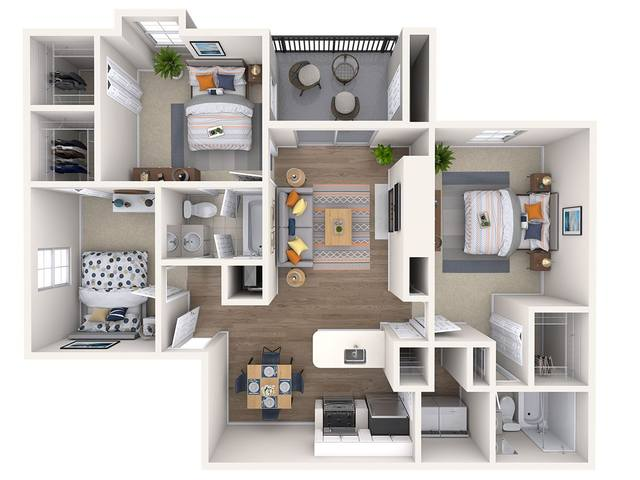 A 3D rendering of the Orchid Renovated floor plan