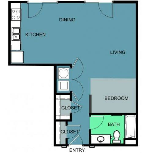 A 2D drawing of the E1B floor plan