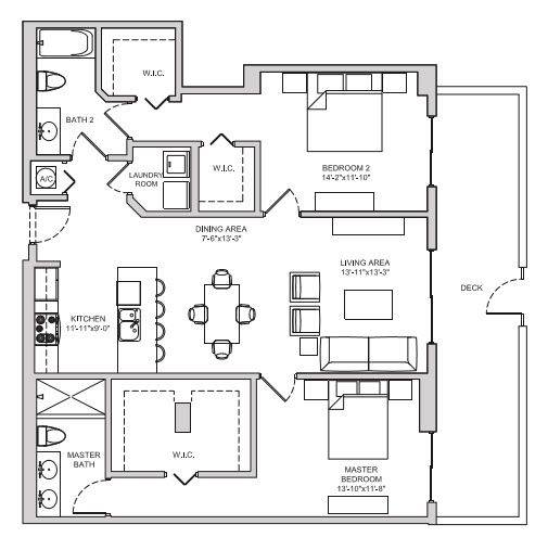 A 2D drawing of the B13 floor plan