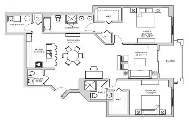 A 2D drawing of the B17 floor plan