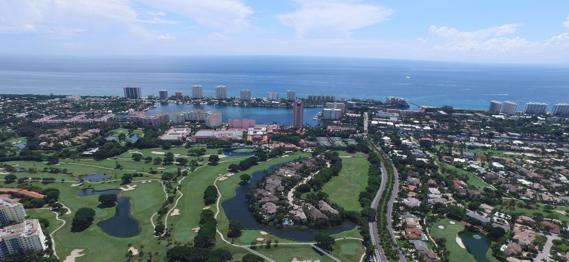 Aerial view of golf course and skyline
