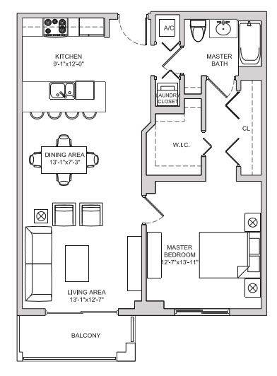A 2D drawing of the A9 floor plan
