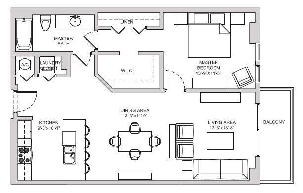 A 2D drawing of the A13 floor plan