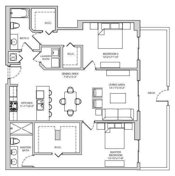 A 2D drawing of the B12 floor plan