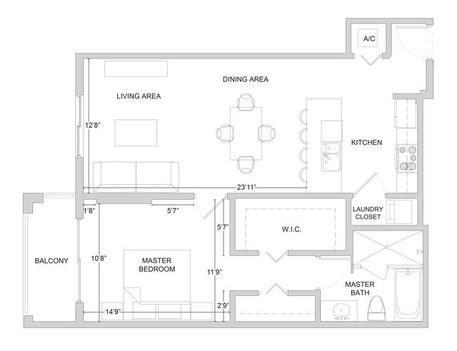 A 2D drawing of the A14 floor plan
