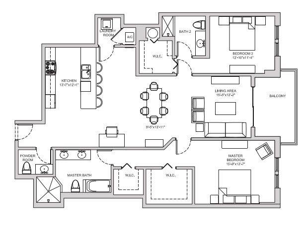 A 2D drawing of the B16 floor plan