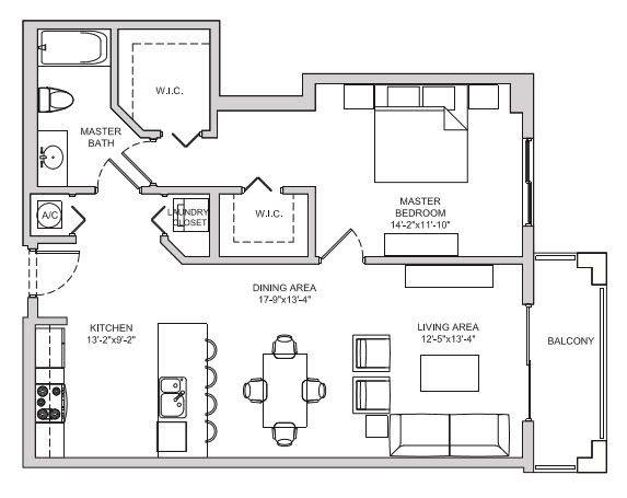 A 2D drawing of the A12 floorplan