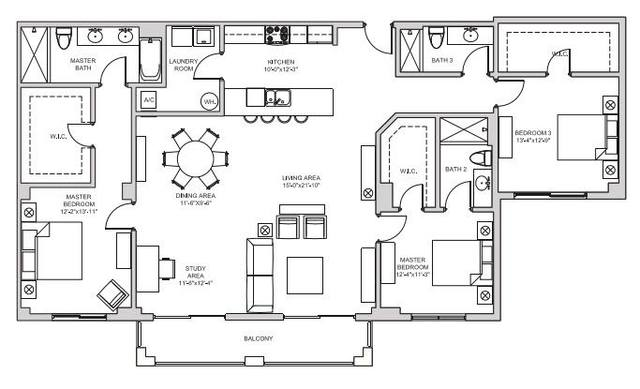 A 2D drawing of the C7 floor plan
