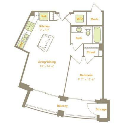 A 2D drawing of the One Bedroom (1A) floor plan