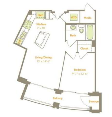 Floorplan One Bedroom (1A) layout