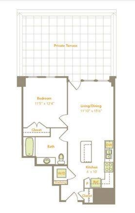 A 2D drawing of the One Bedroom (1B-A, 1-D) floor plan