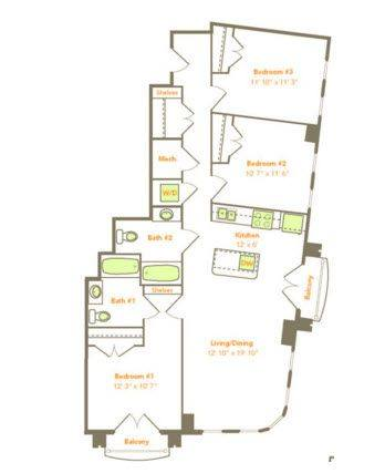A 2D drawing of the 3 Bedroom (3A-A) floor plan