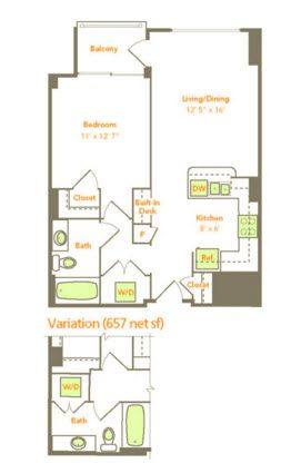 A 2D drawing of the One Bedroom (1E, 1T) floor plan