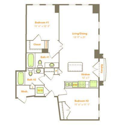 A 2D drawing of the Two Bedroom (2D, 2E) floor plan