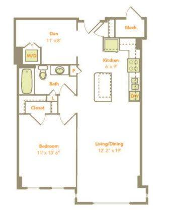 A 2D drawing of the One Bedroom w/ Den (1MD) floor plan