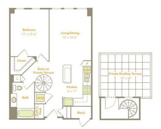 A 2D drawing of the One Bedroom (1C-RT, 1H) floor plan