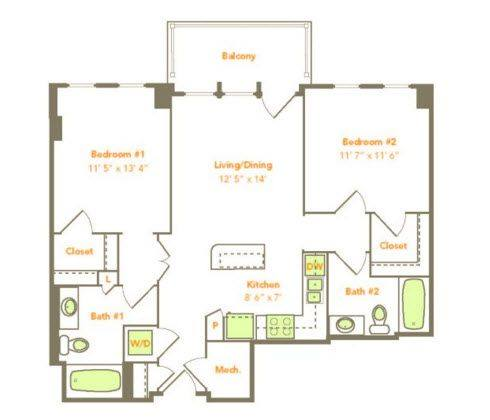 A 2D drawing of the Two Bedroom (2B) floor plan