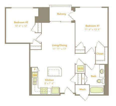 A 2D drawing of the Two Bedroom (2A) floor plan