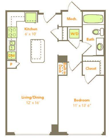 A 2D drawing of the One Bedroom (1F, 1G) floor plan