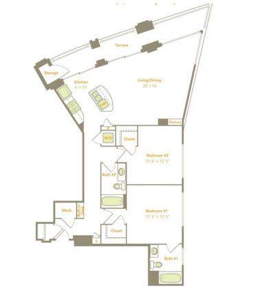 A 2D drawing of the Two Bedroom (2N) floor plan