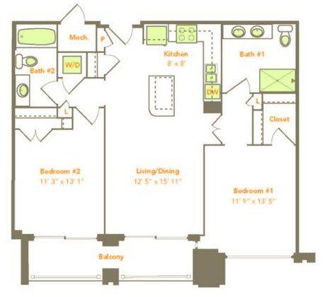 A 2D drawing of the Two Bedroom (2C, 2F) floor plan