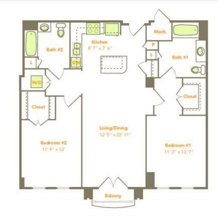 A 2D drawing of the Two Bedroom (2L-A) floor plan