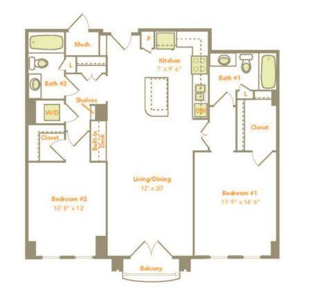 A 2D drawing of the Two Bedroom (2J) floor plan