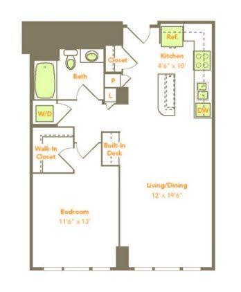 A 2D drawing of the One Bedroom (1R, 1J-A) floor plan