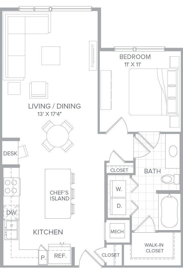 A 2D drawing of the A2k floor plan