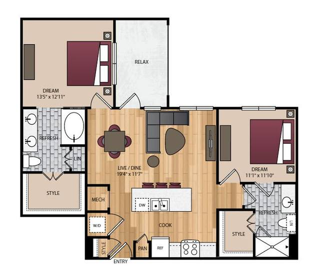 A 2D drawing of the B2.1 floor plan