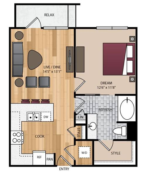 A 2D drawing of the P-A1 floor plan