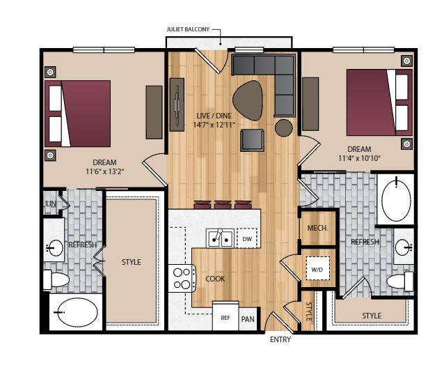 A 2D drawing of the B1.1 floor plan