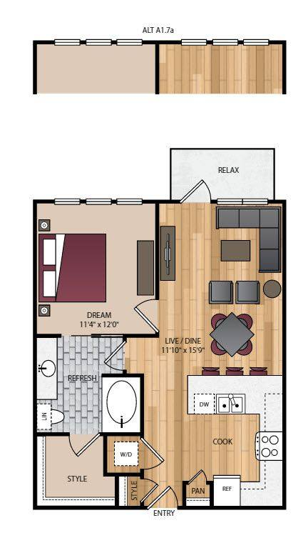 A 2D drawing of the A1.7 floor plan