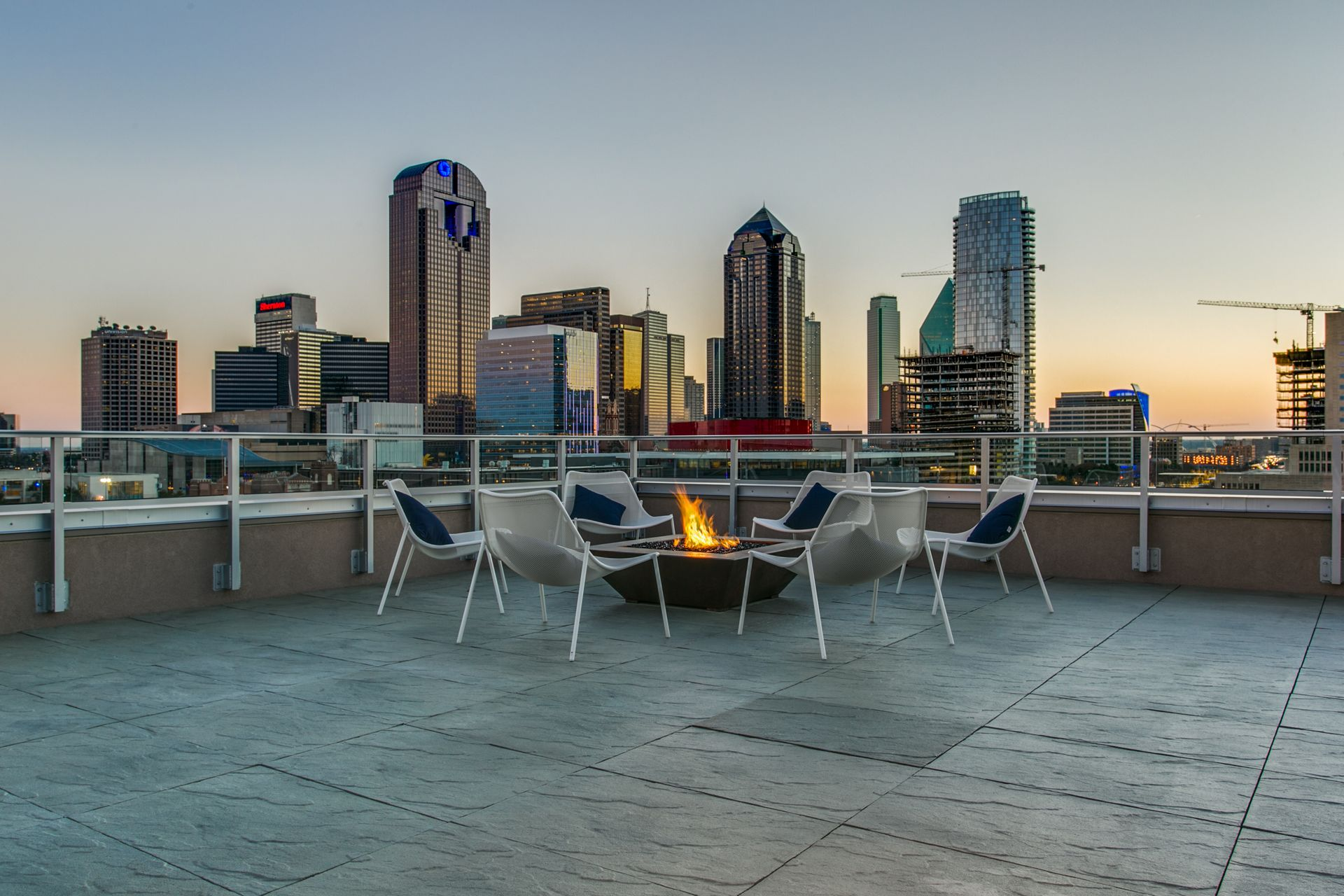 rooftop terrace with downtown views