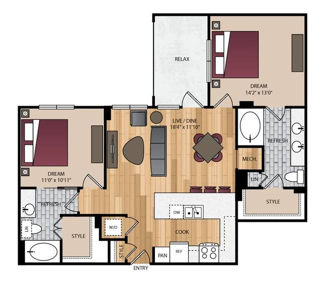 A 2D drawing of the P-B3 floor plan