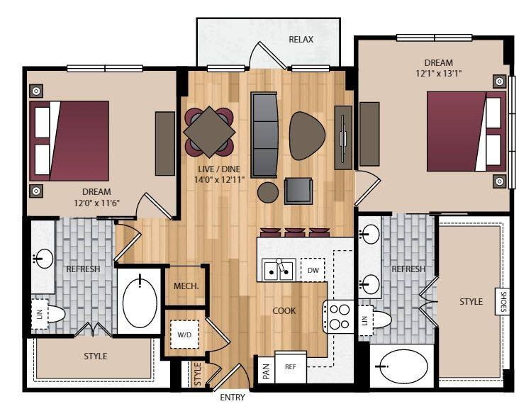 A 2D drawing of the P-B2.2 floor plan