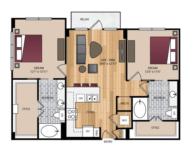 A 2D drawing of the P-B2.1 floor plan