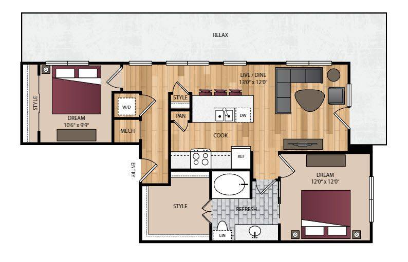 A 2D drawing of the B8.1 floor plan