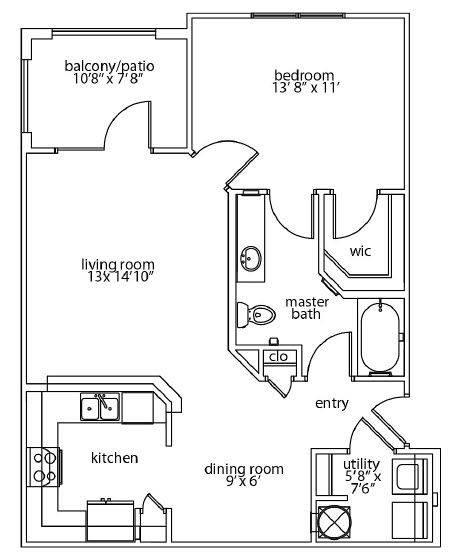 A 2D drawing of the Harmony Patio floor plan