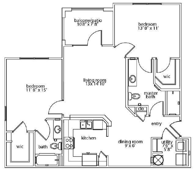 A 2D drawing of the Serenity Patio floor plan