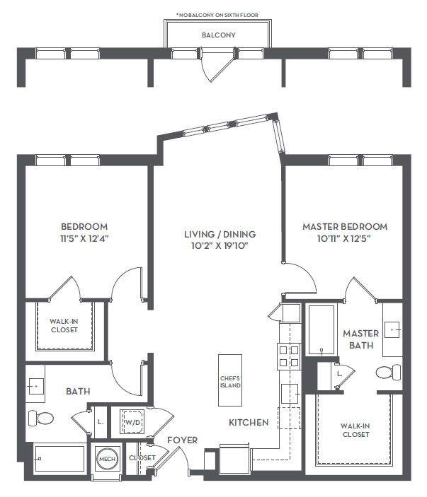 A 2D drawing of the 2-B floor plan
