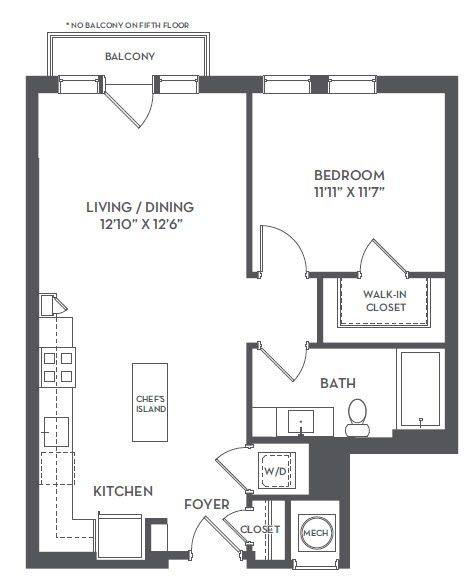A 2D drawing of the 1-L floor plan