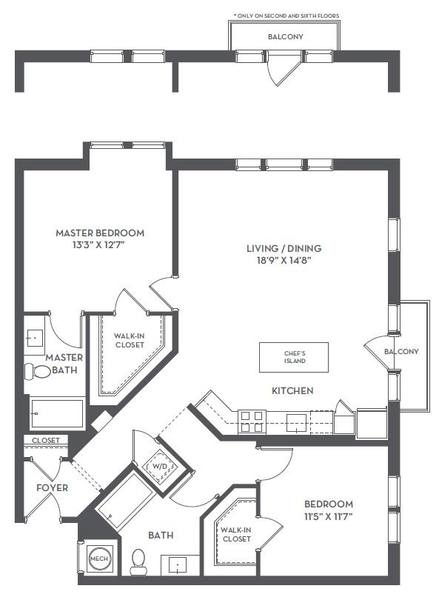 A 2D drawing of the 2-D floor plan