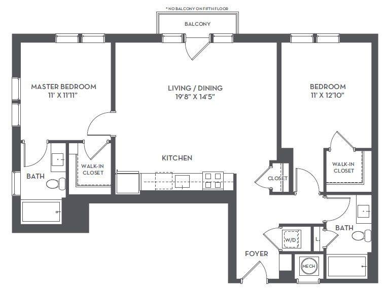 A 2D drawing of the 2-A floor plan