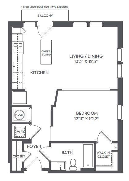 A 2D drawing of the 1-B floor plan