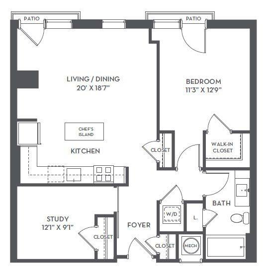 A 2D drawing of the 1-B1 floor plan